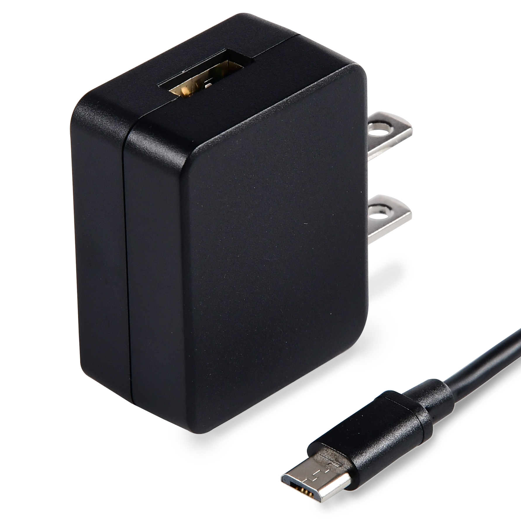 ONN Wall Charger 2.1A with 3ft Micro USB Cable, Black