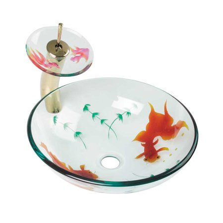 Glass Vessel Sink Koi Fish Waterfall Faucet Combo Package