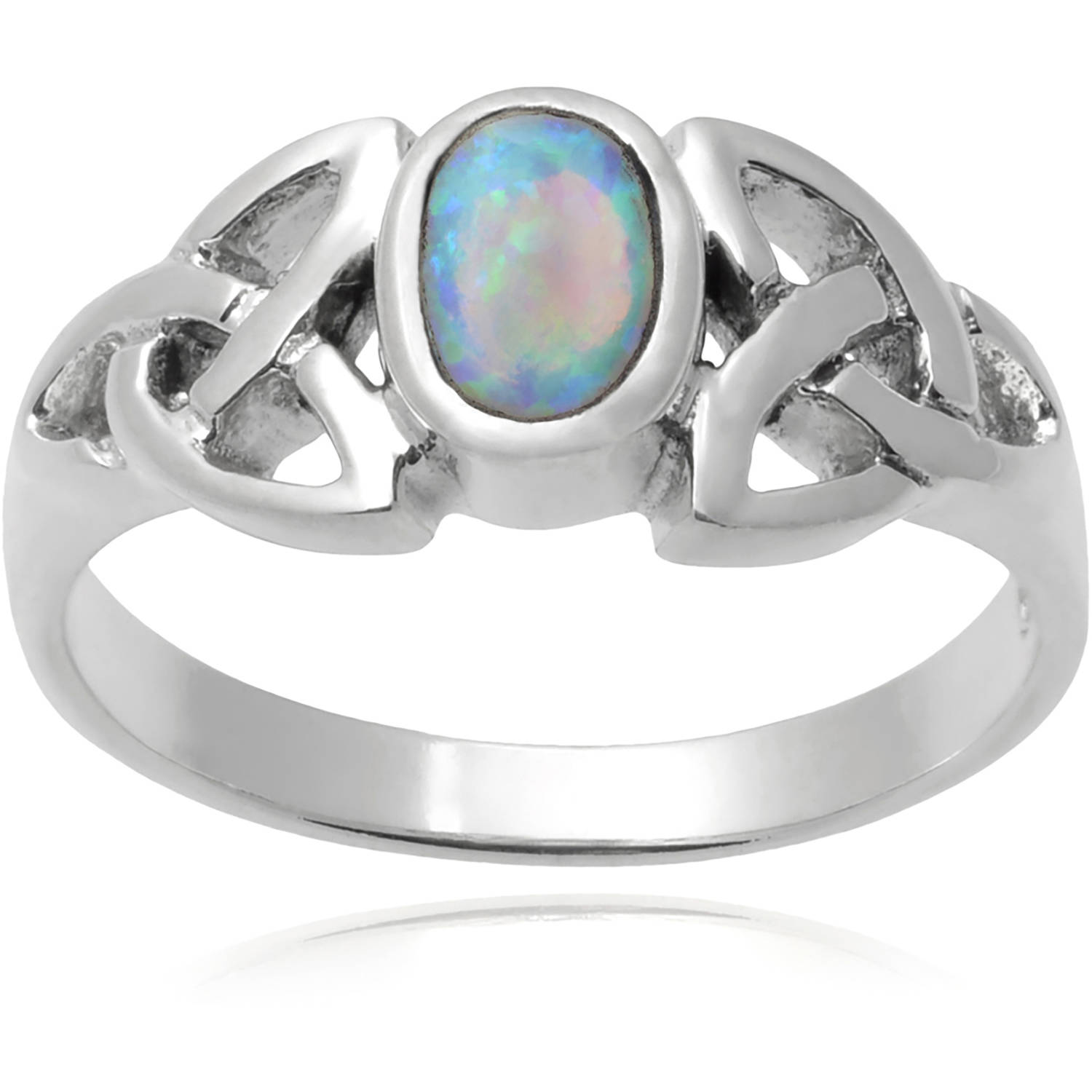 Brinley Co. Women's Opal Sterling Silver Polished Celtic Knot Fashion Ring, Multicolor