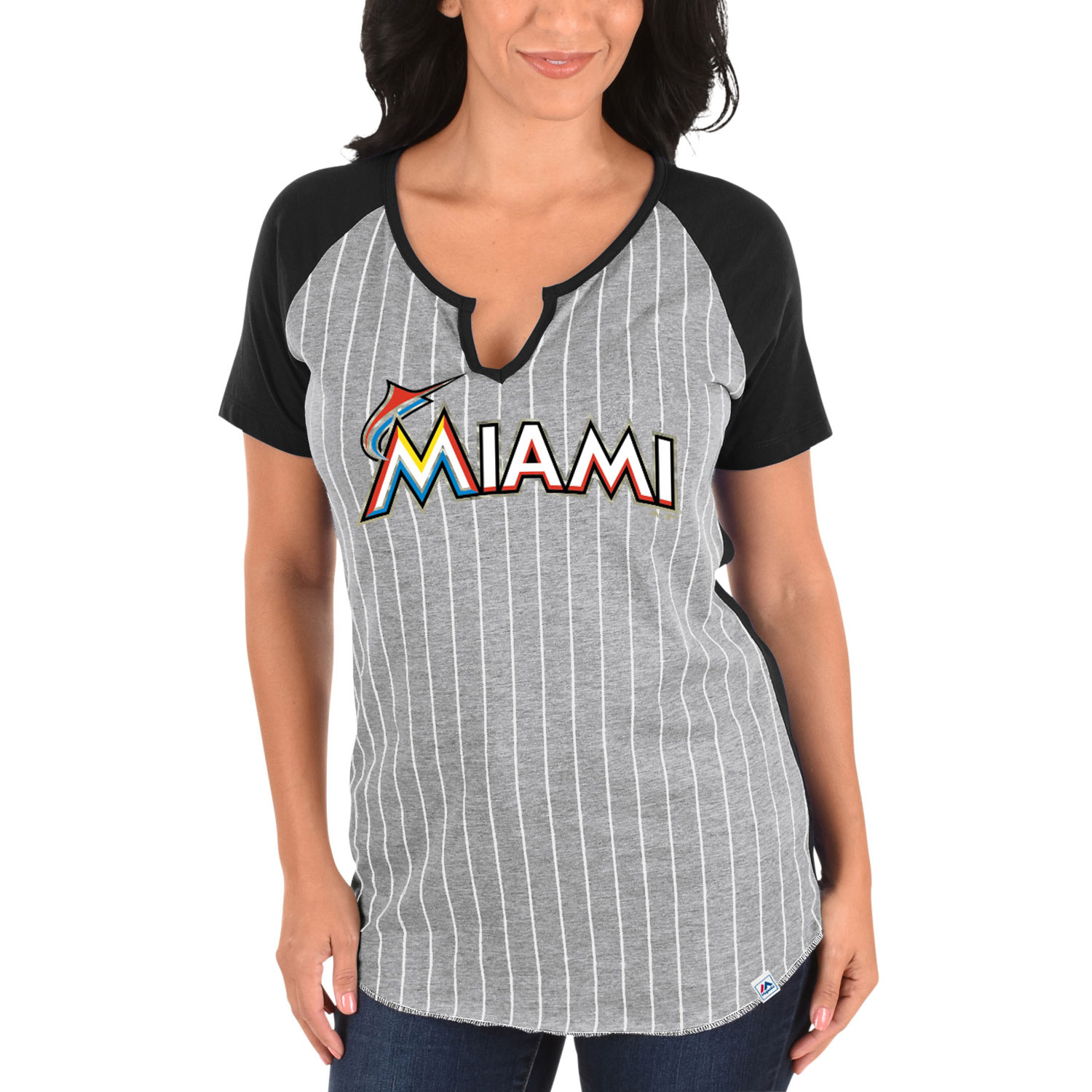 Miami Marlins Majestic Women's From the Stretch V-Notch T-Shirt - Gray/Black