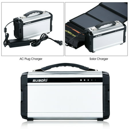 SUAOKI 222Wh Portable Generator Power Source CPAP Lithium Battery Pack Power Supply with Silent 110V/60Hz, Max 200W AC Power Inverters, DC 12V & USB Ports, Charged by Solar Panel/Wall Outlet/Car (Cheap Supplies For Parties)