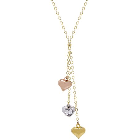 Designer Lariat Necklace (Triple Heart Lariat Necklace with Cubic Zirconia in 10kt Three-Tone)