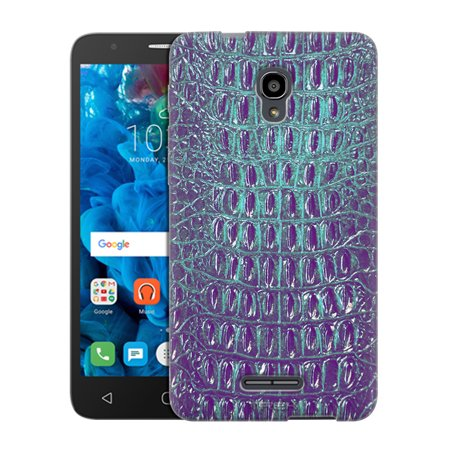 Alcatel Fierce 4 Case  Snap On Cover By Trek Alligator Faux Turquoise Skin Slim Case