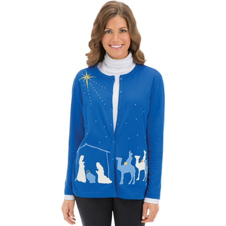 Women'sEmbellished Nativity Scene Cardigan, X-Large, Royal Blue - Nativity Clothes