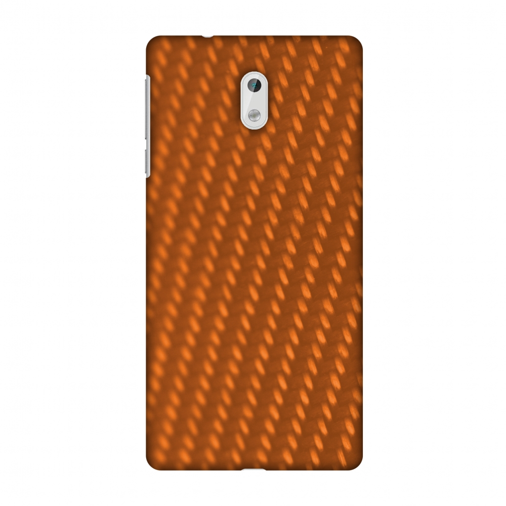 Nokia 3 Case, Premium Handcrafted Printed Designer Hard ShockProof Case Back Cover with Screen Cleaning Kit for Nokia 3 - Carbon Fibre Redux Tangy Orange 12