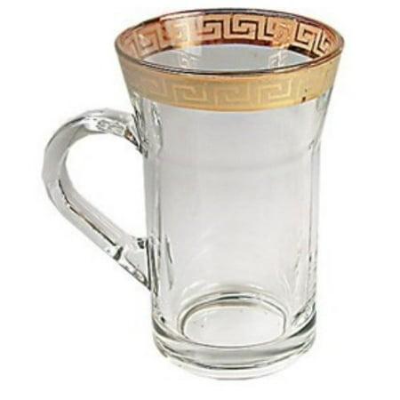 Middle Eastern Classic Gold Rim Trim Design Chai Tea Glass Cup 6-Piece Set (Gold Trimmed Glasses)