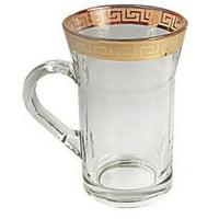 Middle Eastern Classic Gold Rim Trim Design Chai Tea Glass Cup 6-Piece Set 10-oz