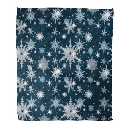 ASHLEIGH Throw Blanket 58x80 Inches Abstract Christmas Pattern White Snowflakes on Blue Celebration Warm Flannel Soft Blanket for Couch Sofa Bed
