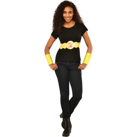Womens Adult Black Widow T-Shirt Belt And Arm Bands Set Costume - Black Widow Costume Belt