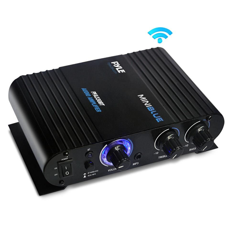 PYLE PFA330BT - Bluetooth Mini Blue Compact Audio Amplifier, Aux (3.5mm) Input, Push-Type Speaker Terminals, 90 Watt Amp