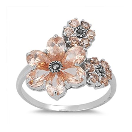 925 Sterling Silver Flower Marcasite Ring