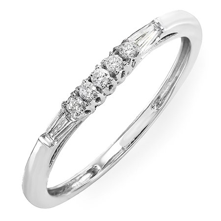 0.13 Carat (ctw) 10K Gold Round & Baguette Cut Diamond Ladies Anniversary Wedding Stackable Guard Band