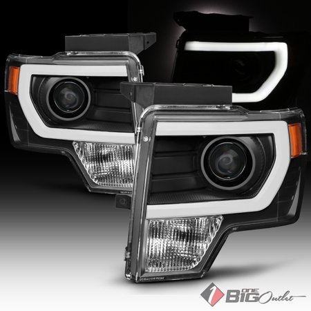 2014 F150 Headlights >> 2009 2014 F150 Black Housing Light Tube Drl Projector Headlights Pair L R 2010 2011 2012 2013