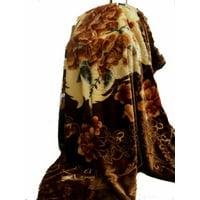 Heavy Korean Faux Mink Fleece Blanket, 5 LB - 2 Ply Reversible Silky Soft Plush Warm Blanket for Autumn Winter (Queen, Flower/Brown )