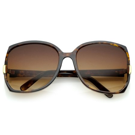 Women's Square Side Cutouts Metal Accents Oversize Sunglasses 62mm (Tortoise / Amber) (Erika Tortoise)