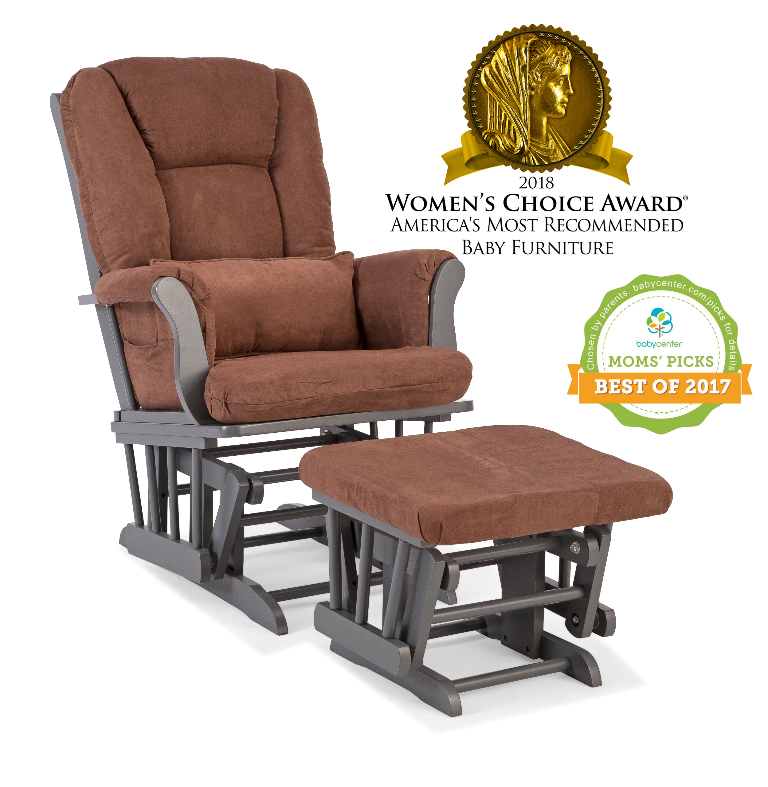 Storkcraft Tuscany Glider and Ottoman with Lumbar Pillow Gray with Chocolate Cushions