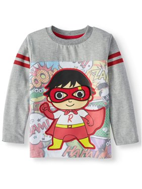 Ryan's World Boys Red Titan & Friends w/ Velcro Mask Long Sleeve, Sizes 4-7
