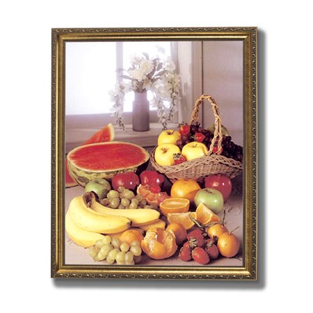 Grapes Watermelon Apples Oranges Bananas Kitchen Wall Picture Gold Framed Art Print (Apples Framed Print)