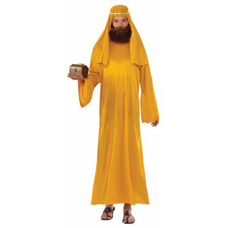 Adult Mens Christian Biblical Shepherd Nativity Wise Man Robe Costume XL GOLD (Shepherds Costume For Kids)