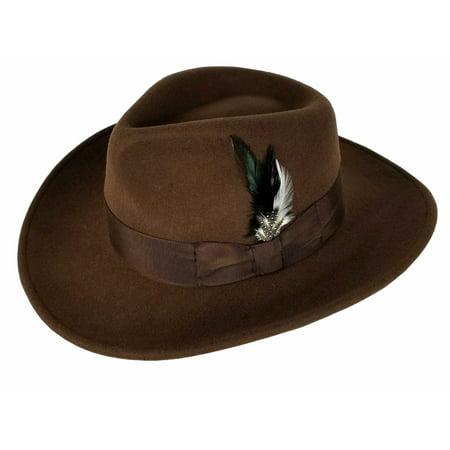 Men's 100% Crush-able Wool Felt Indiana Jones Cowboy Outback Western Fedora Hats With Feather Brown (White Felt Fedora)