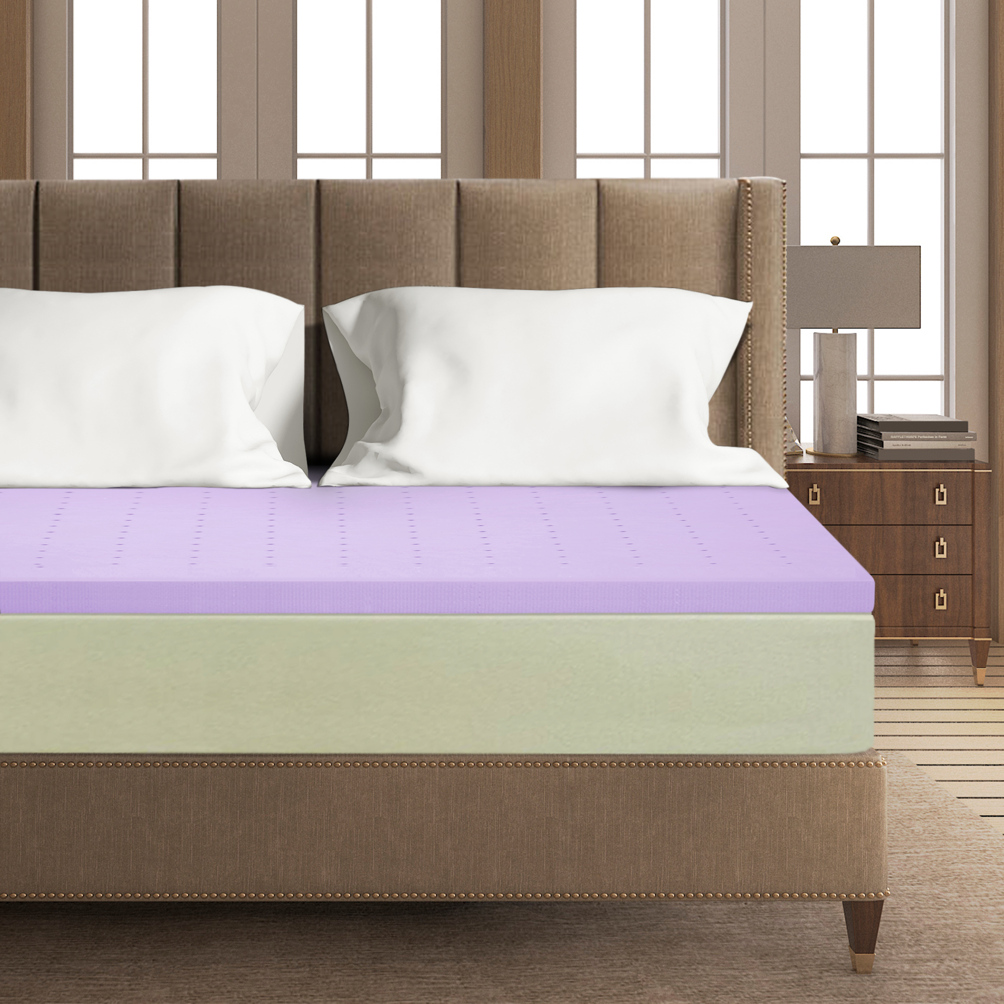 Click here to buy Best Price Mattress 2 Inch Lavender Memory Foam Mattress Topper by Best Price Mattress.
