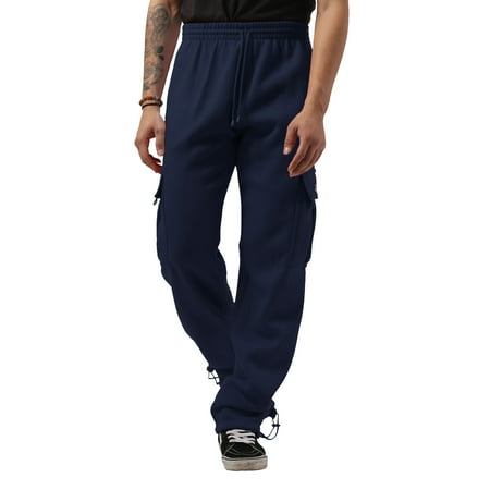Men's Heavyweight Fleece Cargo Sweatpants with Multi Pockets