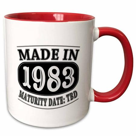 3dRose Made in 1983 - Maturity Date TDB - Two Tone Red Mug, - Halloween 1983 Date