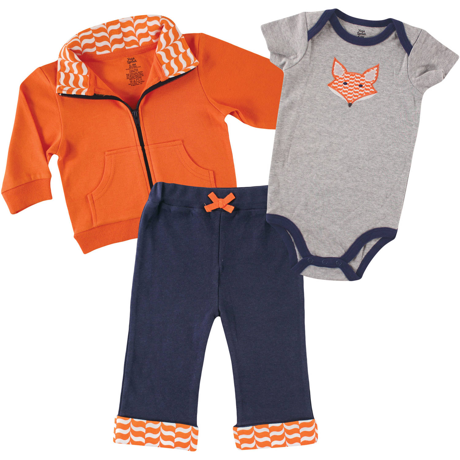 Yoga Sprout Newborn Baby Boys Jacket, Bodysuit & Pant - Fox