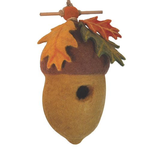 Global Crafts Pin Oak Acorn Felt 11 in x 6.5 in x 4 in Birdhouse