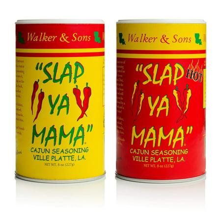 Slap Ya Mama All Natural Cajun Seasoning from Louisiana, Spice Variety Pack, 8 Ounce Cans, 1 Original Cajun and 1 Hot Cajun Blend Original & Hot Blend