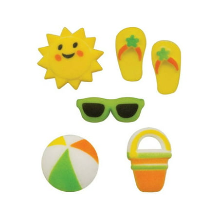 Flip Flop Cupcake - Summer Fun Asst. Pail Flip Flops Beach Ball Sun Glasses Sugar Decorations Toppers Cupcake Cake Cookies Birthday Favors Party 12 Count