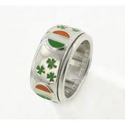 St. Patrick's Shamrock Sterling Silver Celtic Irish Flag Spinning Band Ring