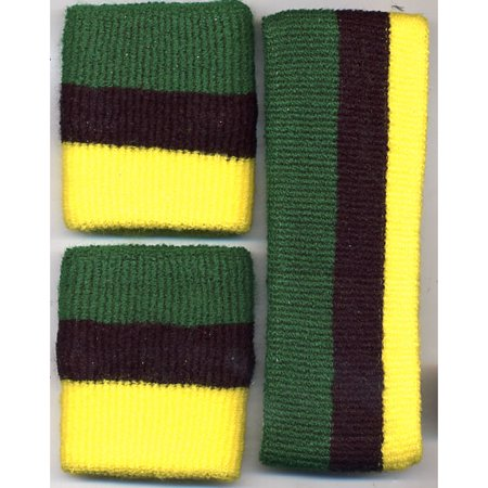 Headband Wristband Set Yellow Black Green Sweatband Jamaican Flag 3 Stripes - Halloween Party In Jamaica