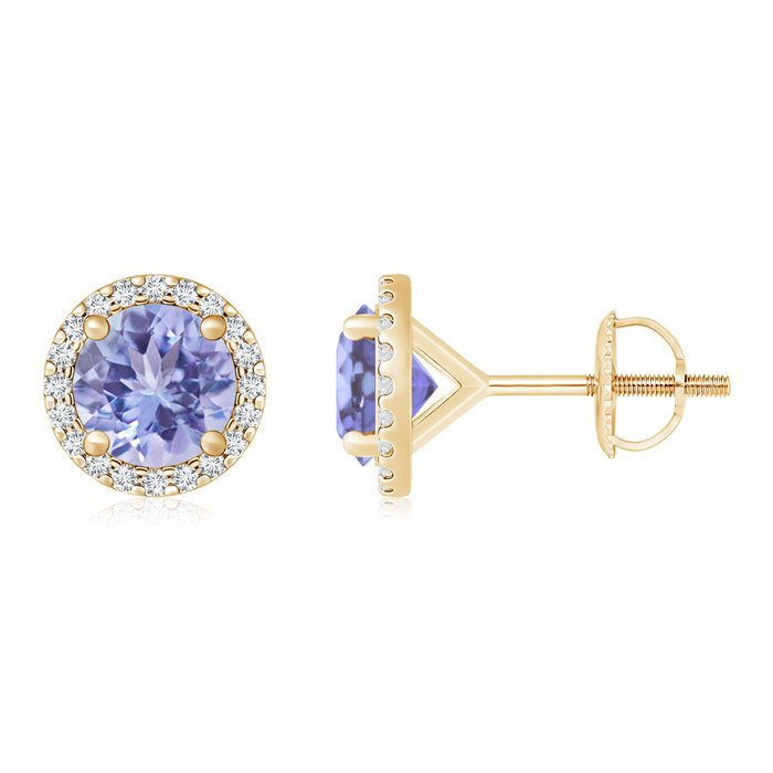 Angara 4mm Diamond Halo Sapphire Vintage Stud Earrings in White Gold RznIGn5