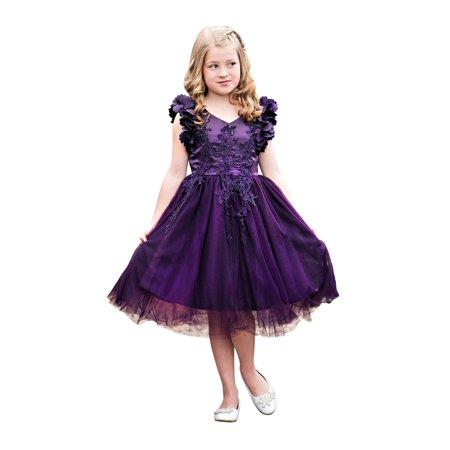 029d24b04 Just Couture Little Girls Dark Purple Petal Sleeve Lace Flower Girl ...