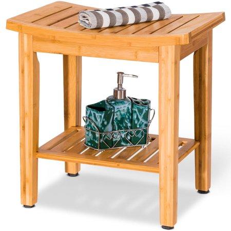18 Quot Bamboo Shower Seat Bench Bathroom Spa Organizer Stool
