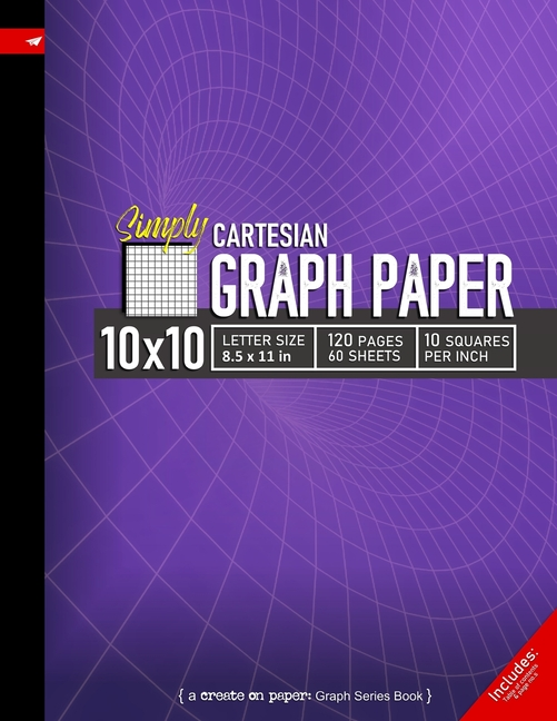 simply 10x10 graph paper   cartesian style grid line ruled composition notebook  8 5x 11in