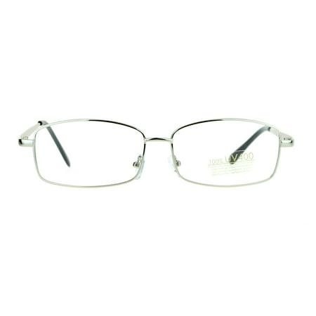 SA106 Mens Classic Minimal Narrow Rectangular Metal Rim Eyeglasses