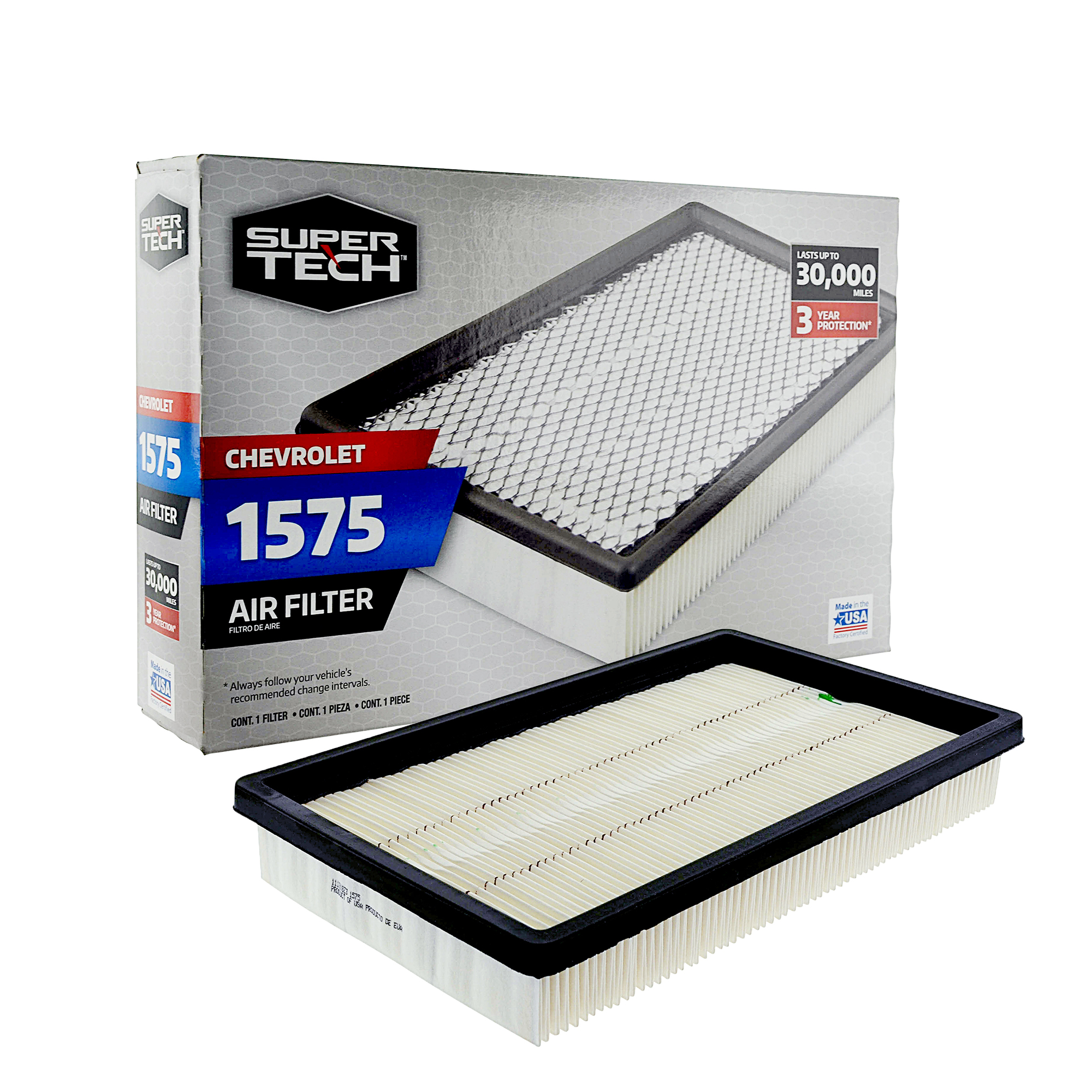 SuperTech 1575 Engine Air Filter, Replacement Filter for GM or Chevrolet