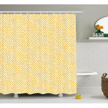 Greek Key Shower Curtain, Yellow and White Tile Pattern with Twisted Lines in Squares Grunge Looking Maze, Fabric Bathroom Set with Hooks, 69W X 70L Inches, Yellow White, by (Best Kes Shower Tiles)