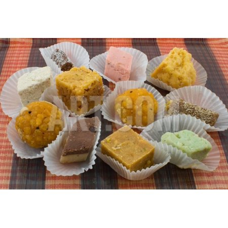 Assortment of Indian Sweets Print Wall Art By