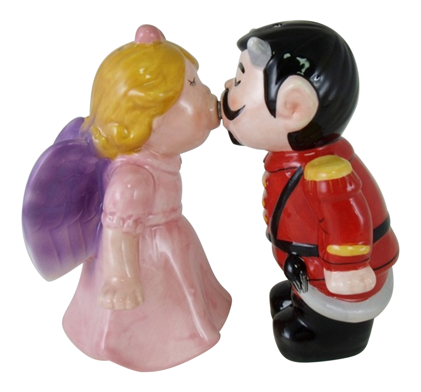 Angel and Devil Magnetic Kissing Salt and Pepper Shakers Set Ceramic Magnetic