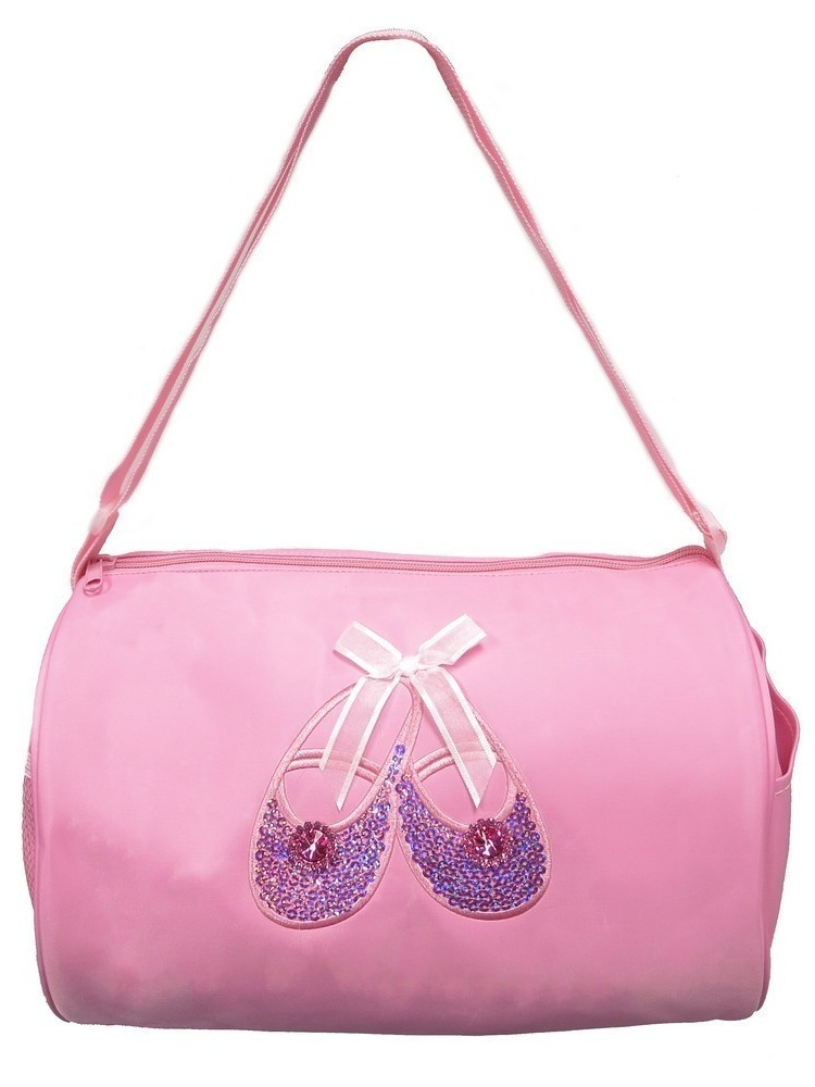 Wenchoice Girls Pink Sequined Dancer Applique Zippered Tie Accented Dance Duffle Bag