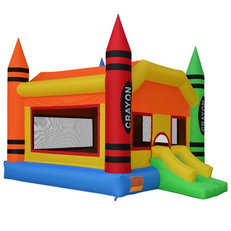 Cloud 9 The Crayon Bounce House - Large Inflatable Bouncing Jumper with Slide, without Blower