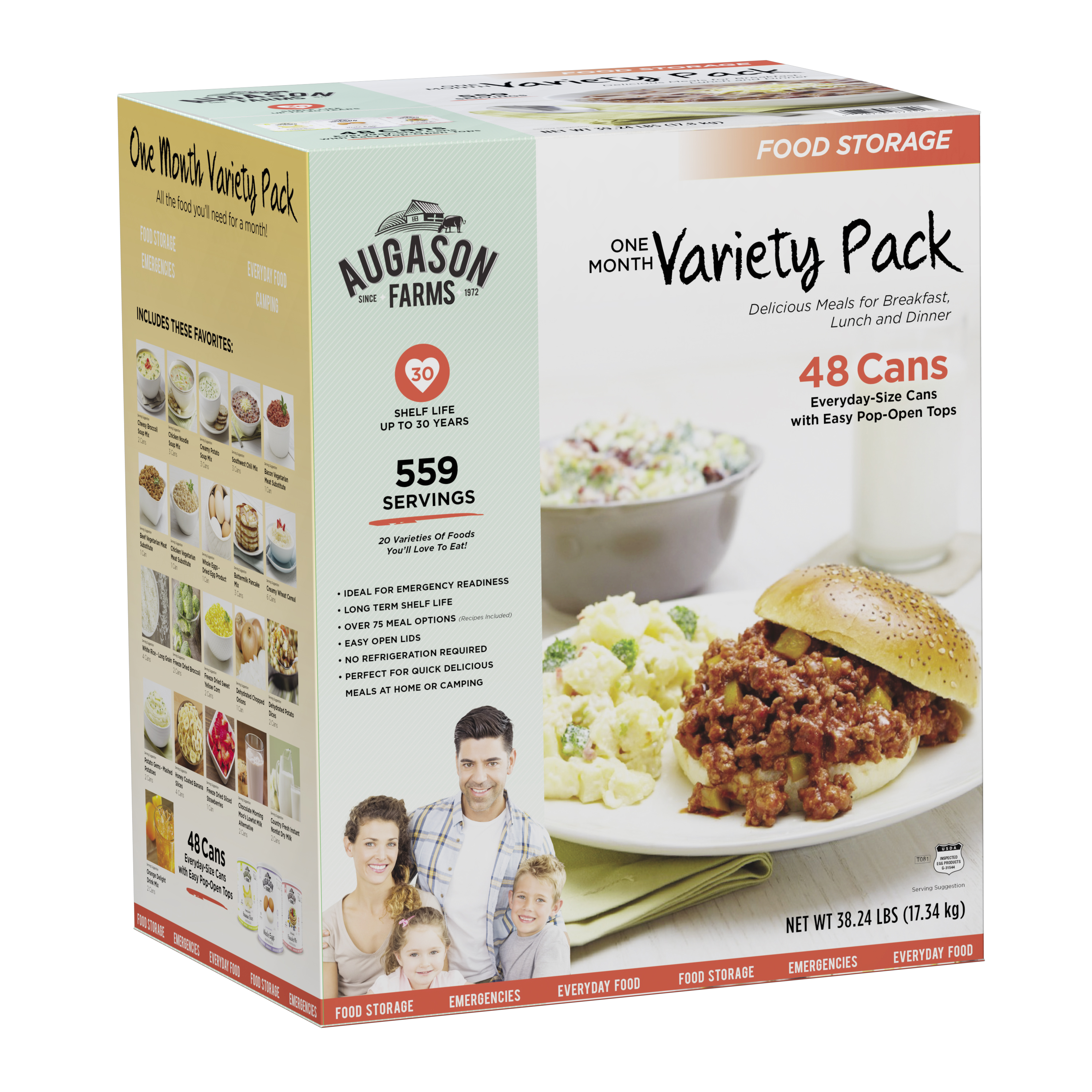 Augason Farms One Month Variety Pack Emergency Food Storage 48 Cans