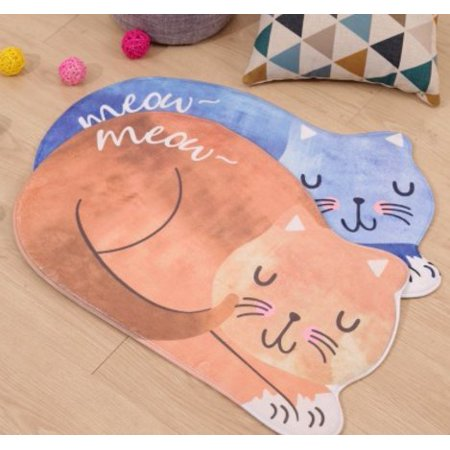 Home Cal Non-slip Mat Lint Free and Non Fading Little Cat Cotton Pattern Mat Bathroom Floor Carpet,Outdoor and Indoor Mat(15.7