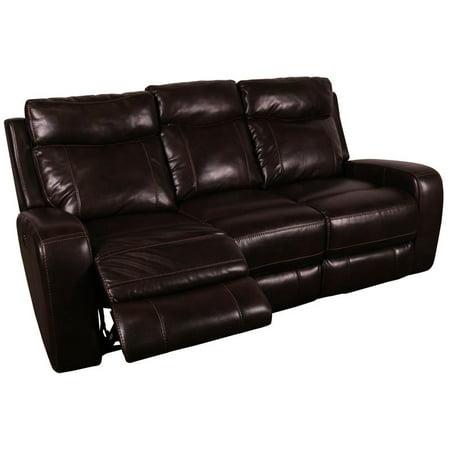 Austin Leather-Look Power Headrests Reclining Sofa - Chocolate