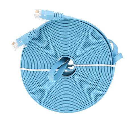 25m/82.02ft Blue High Speed Cat6 Ethernet Flat Cable RJ45 Computer LAN Internet Network