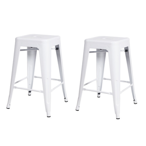 Image of Adeco 24-inch Glossy White Metal Tolix-style Chair Counter Stool (Set of 2)