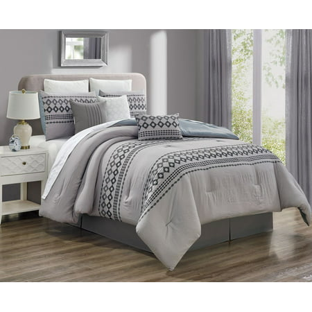 11 Piece Angevin Taupe/Gray Bed in a Bag w/500TC Cotton Sheet Set ()